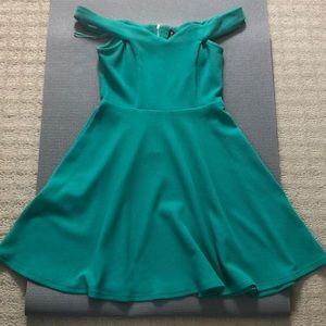 Off the shoulder green dress